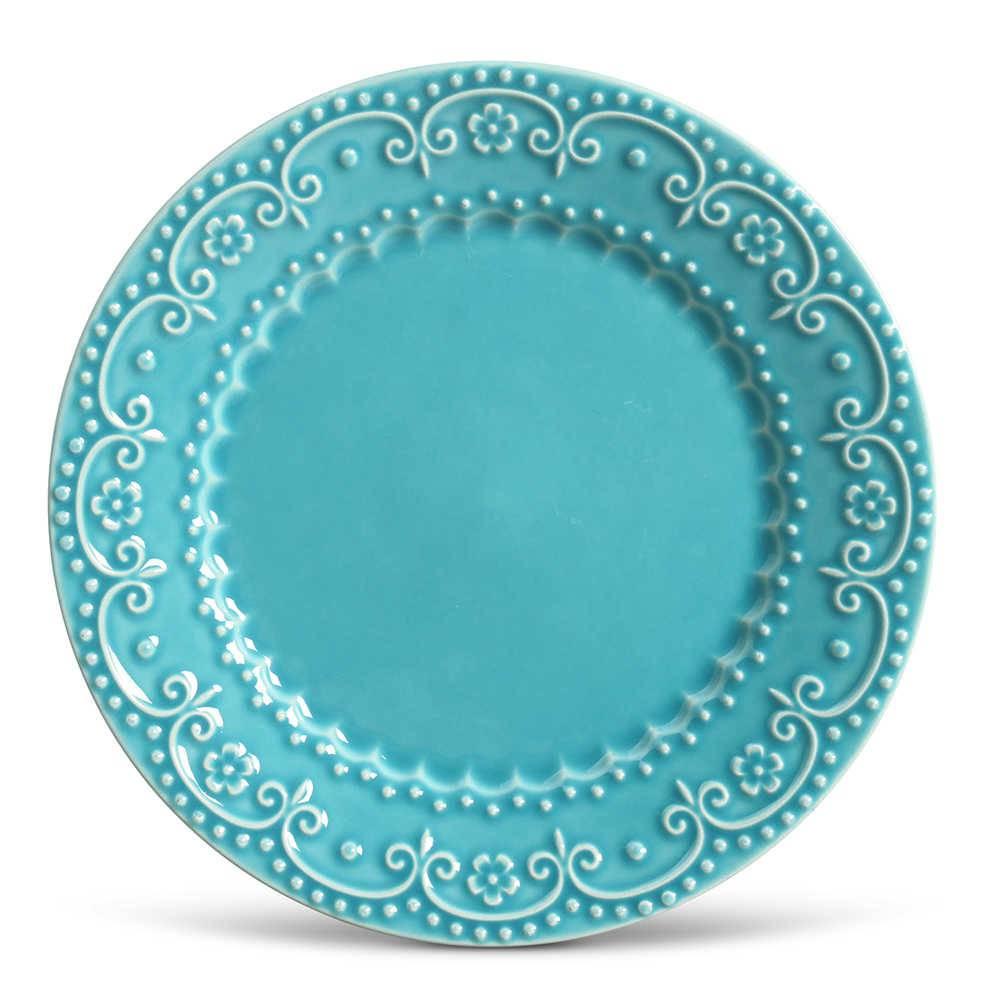 Conjunto de Pratos Rasos Esparta Azul Poppy - 6 Peças - em Cerâmica - La Tavola - Porto Brasil - 26,5x2,8 cm