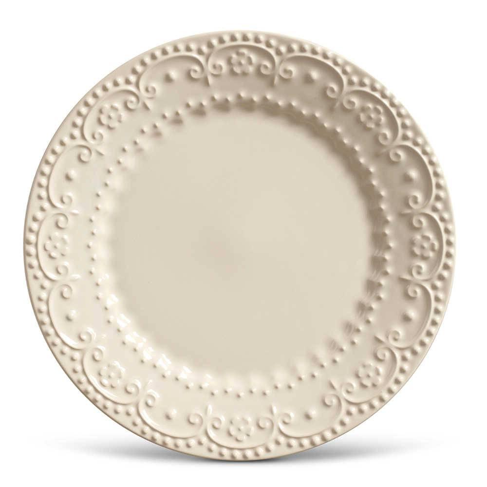 Conjunto de Pratos Rasos Esparta Crú - 6 Peças - em Cerâmica - La Tavola - Porto Brasil - 26,5x2,8 cm
