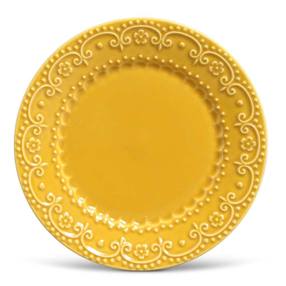 Conjunto de Pratos Rasos Esparta Mostarda - 6 Peças - em Cerâmica - La Tavola - Porto Brasil - 26,5x2,8 cm