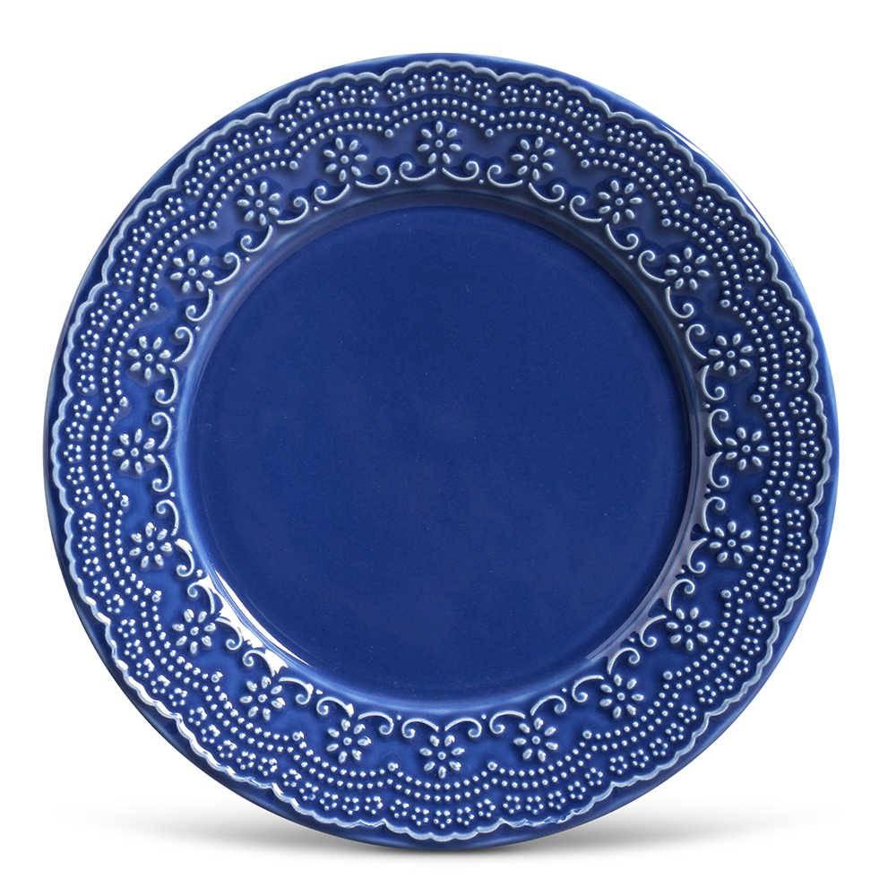 Conjunto de Pratos Rasos Madeleine Azul Navy - 6 Peças - em Cerâmica - La Tavola - Porto Brasil - 26,5x2,8 cm