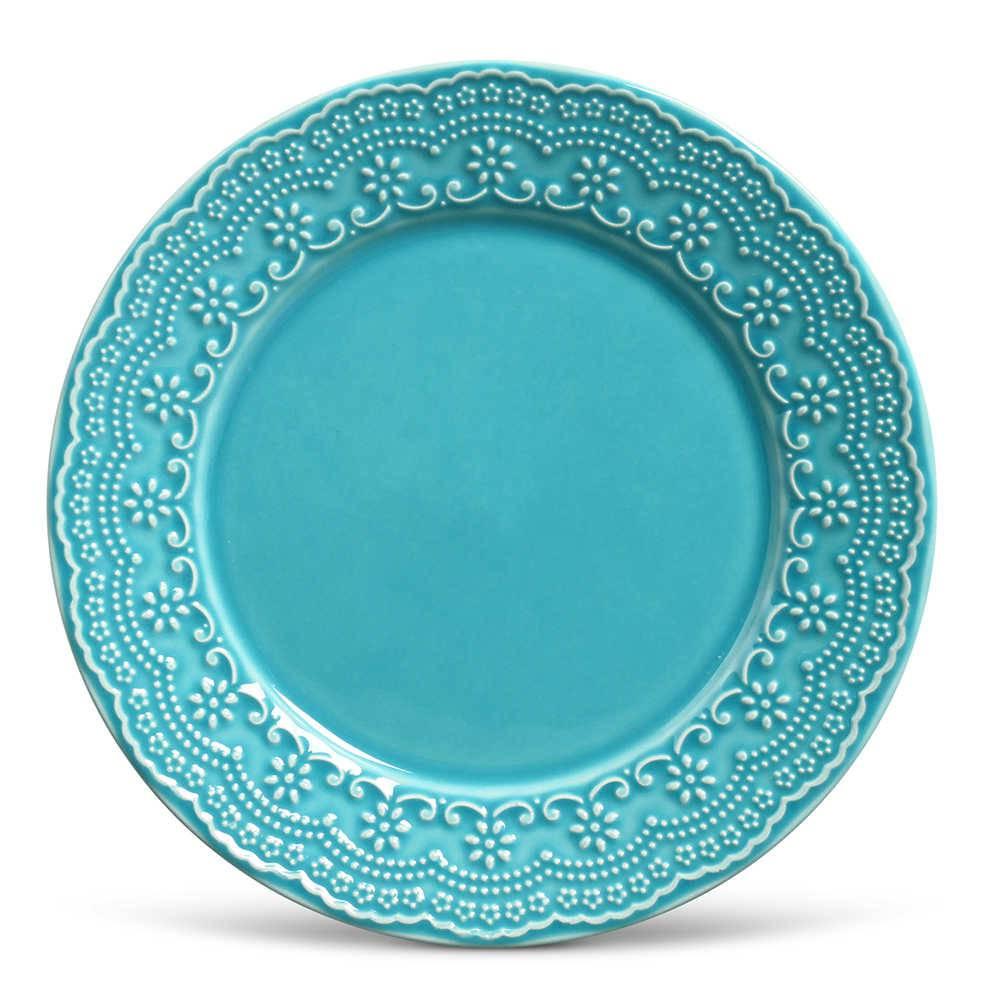 Conjunto de Pratos Rasos Madeleine Azul Poppy - 6 Peças - em Cerâmica - La Tavola - Porto Brasil - 26,5x2,8 cm