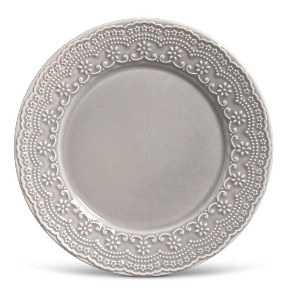 Conjunto de Pratos Rasos Madeleine Cinza Claro - 6 Peças - em Cerâmica - La Tavola - Porto Brasil - 26,5x2,8 cm