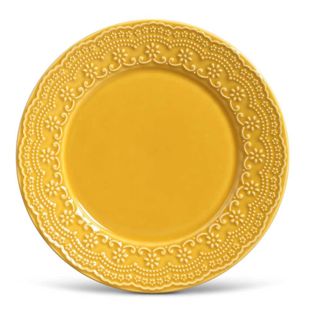 Conjunto de Pratos Rasos Madeleine Mostarda - 6 Peças - em Cerâmica - La Tavola - Porto Brasil - 26,5x2,8 cm