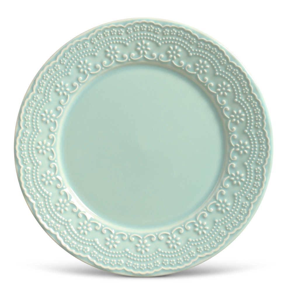 Conjunto de Pratos Rasos Madeleine Verde - 6 Peças - em Cerâmica - La Tavola - Porto Brasil - 26,5x2,8 cm