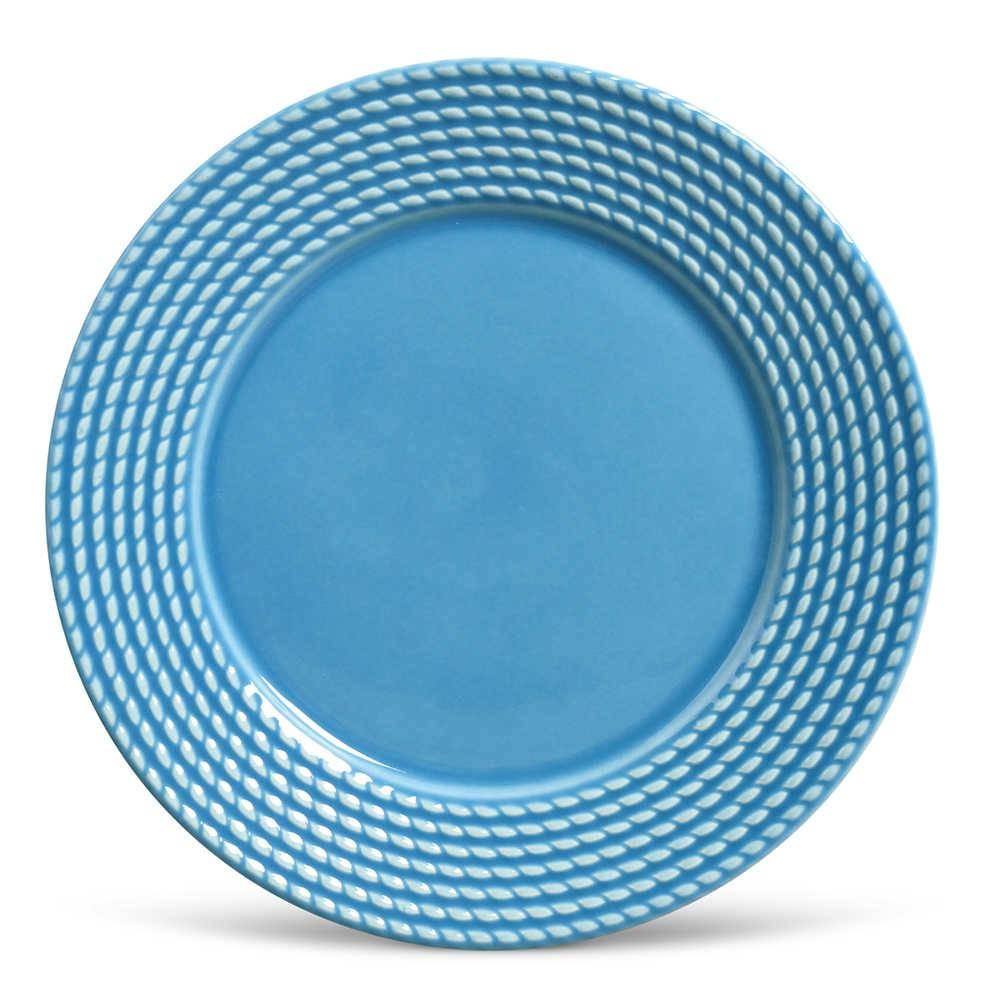 Conjunto de Pratos Rasos Olimpia Azul - 6 Peças - em Cerâmica - La Tavola - Porto Brasil - 26,5x2,8 cm