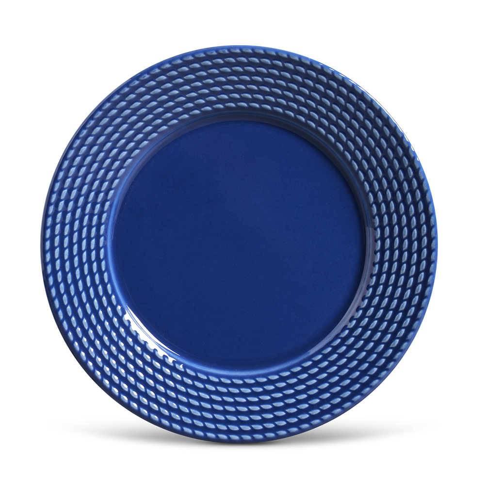 Conjunto de Pratos Rasos Olimpia Azul Navy - 6 Peças - em Cerâmica - La Tavola - Porto Brasil - 26,5x2,8 cm