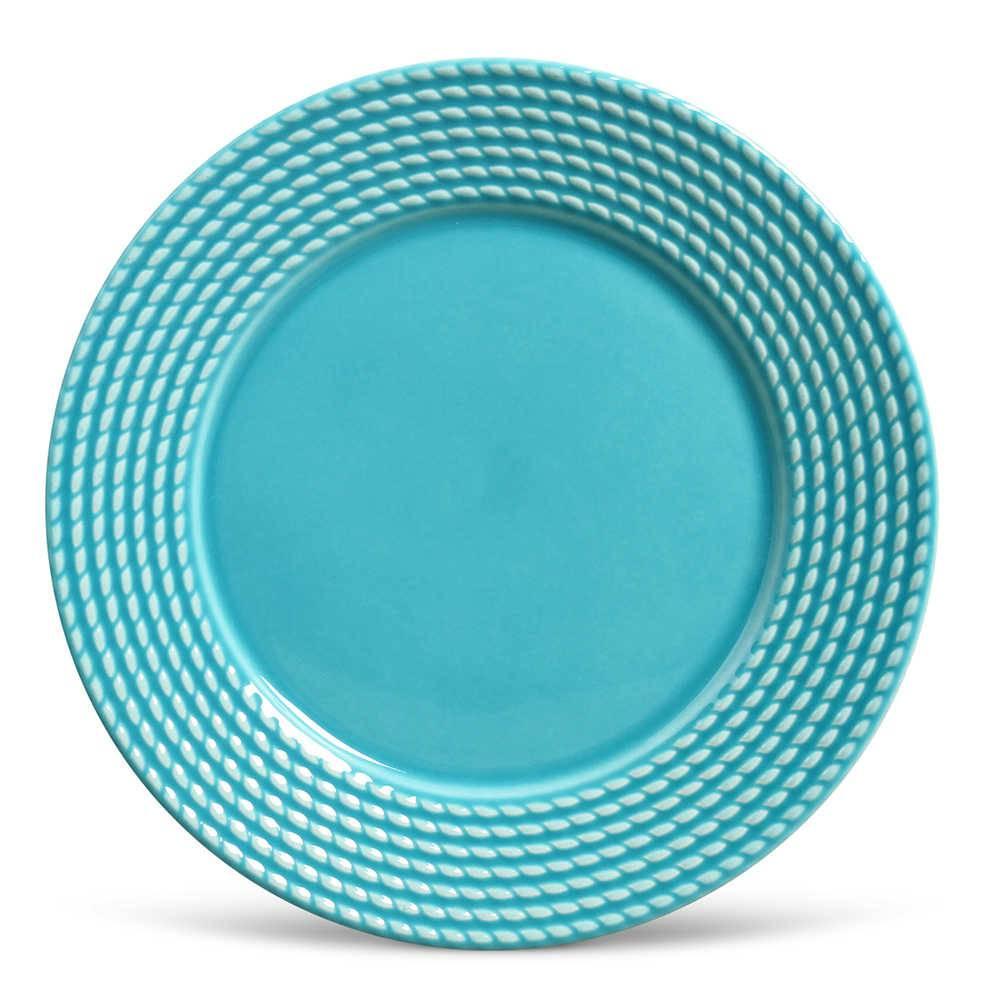 Conjunto de Pratos Rasos Olimpia Azul Poppy - 6 Peças - em Cerâmica - La Tavola - Porto Brasil - 26,5x2,8 cm
