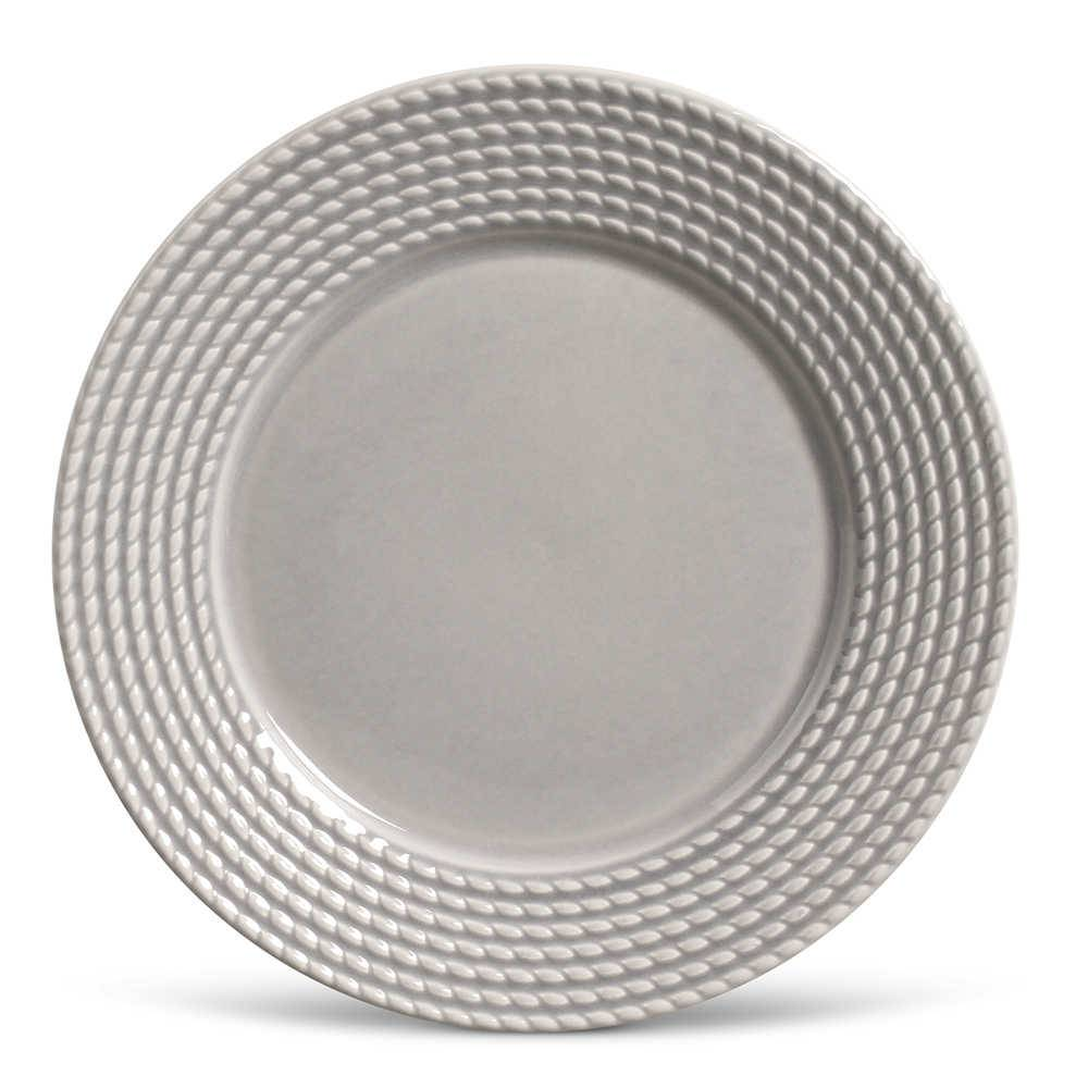 Conjunto de Pratos Rasos Olimpia Cinza Claro - 6 Peças - em Cerâmica - La Tavola - Porto Brasil - 26,5x2,8 cm