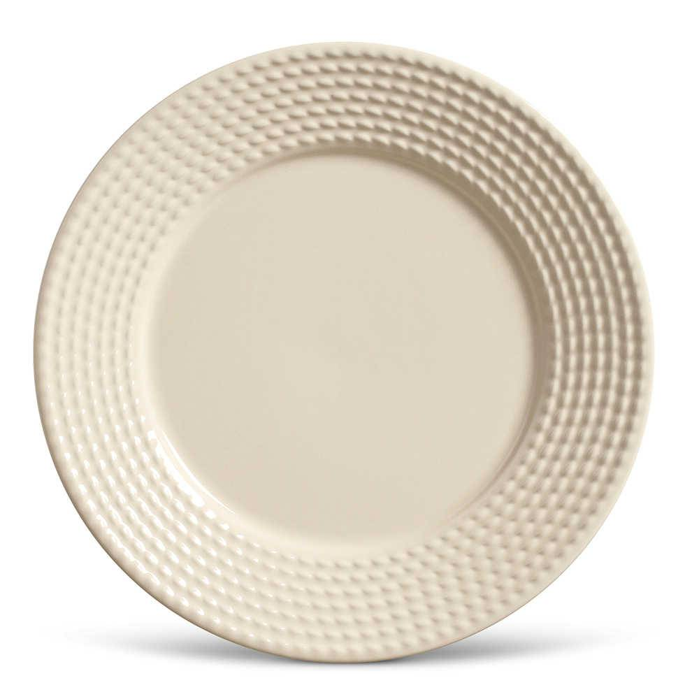 Conjunto de Pratos Rasos Olimpia Crú - 6 Peças - em Cerâmica - La Tavola - Porto Brasil - 26,5x2,8 cm