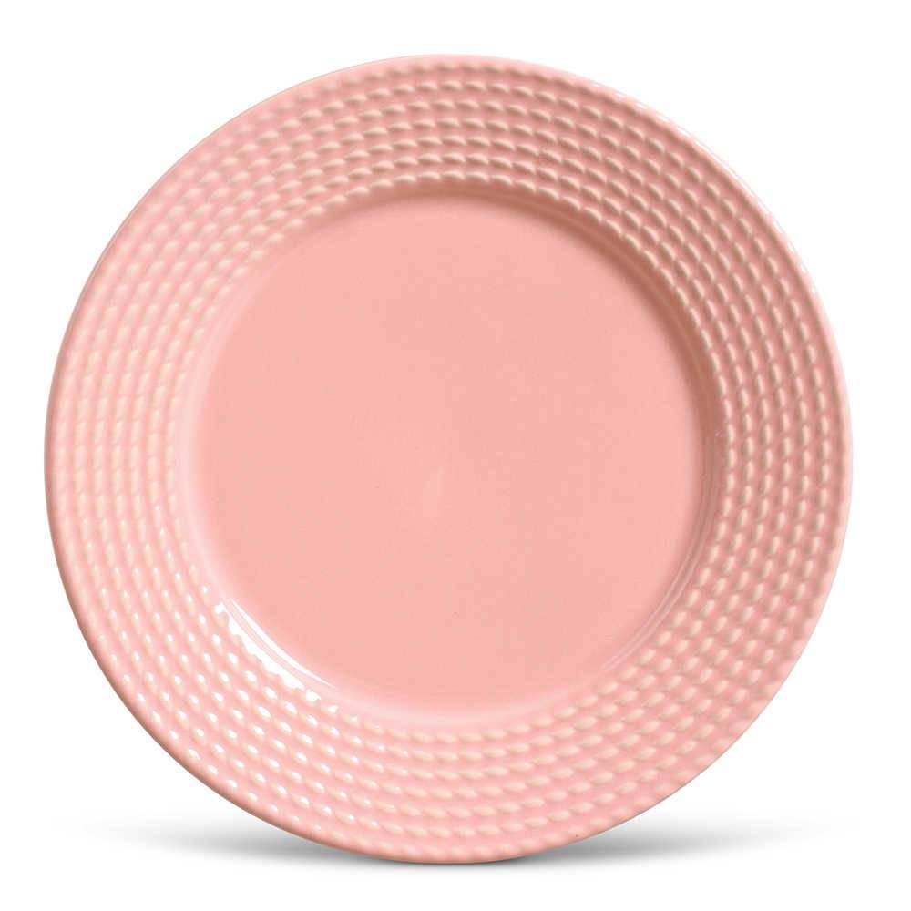 Conjunto de Pratos Rasos Olimpia Rosa - 6 Peças - em Cerâmica - La Tavola - Porto Brasil - 26,5x2,8 cm