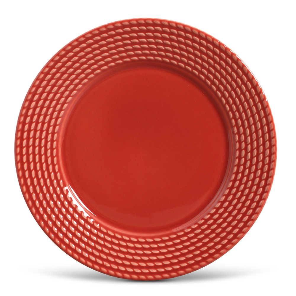 Conjunto de Pratos Rasos Olimpia Vermelho - 6 Peças - em Cerâmica - La Tavola - Porto Brasil - 26,5x2,8 cm