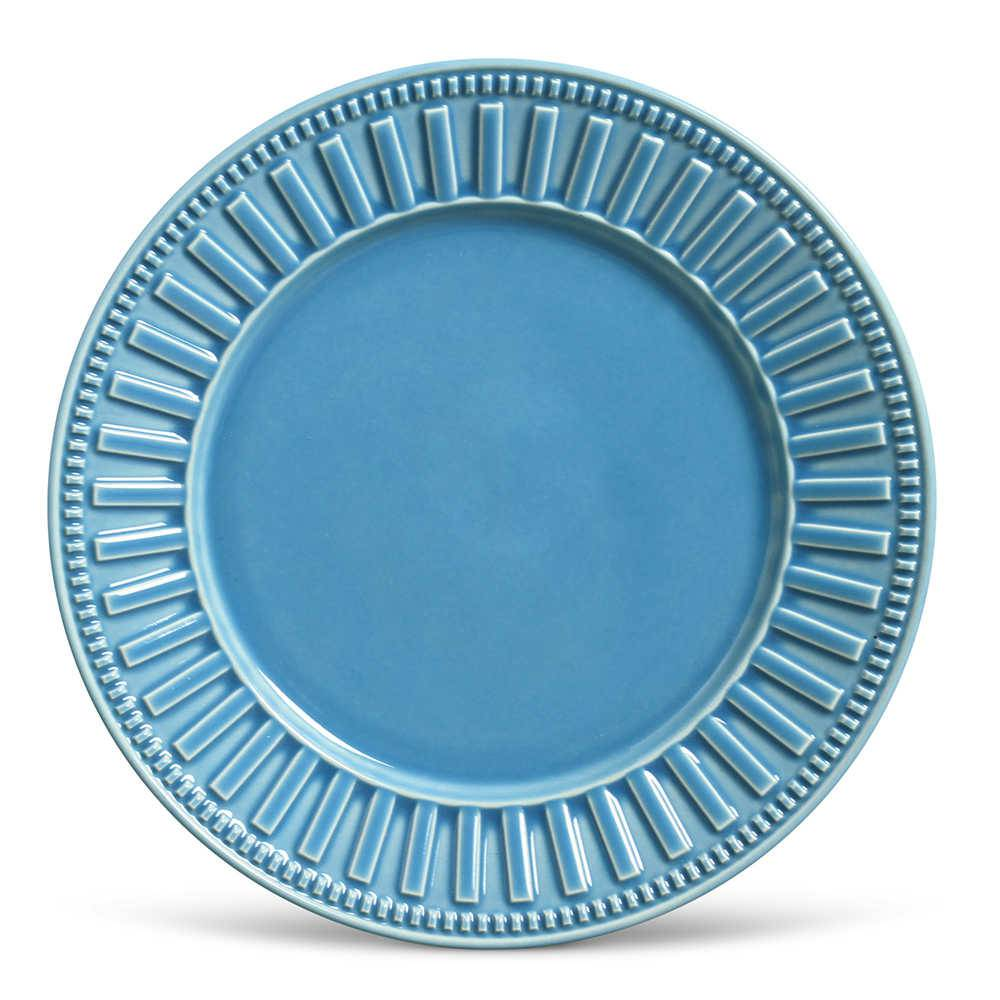 Conjunto de Pratos Rasos Parthenon Azul - 6 Peças - em Cerâmica - La Tavola - Porto Brasil - 26,5x2,8 cm