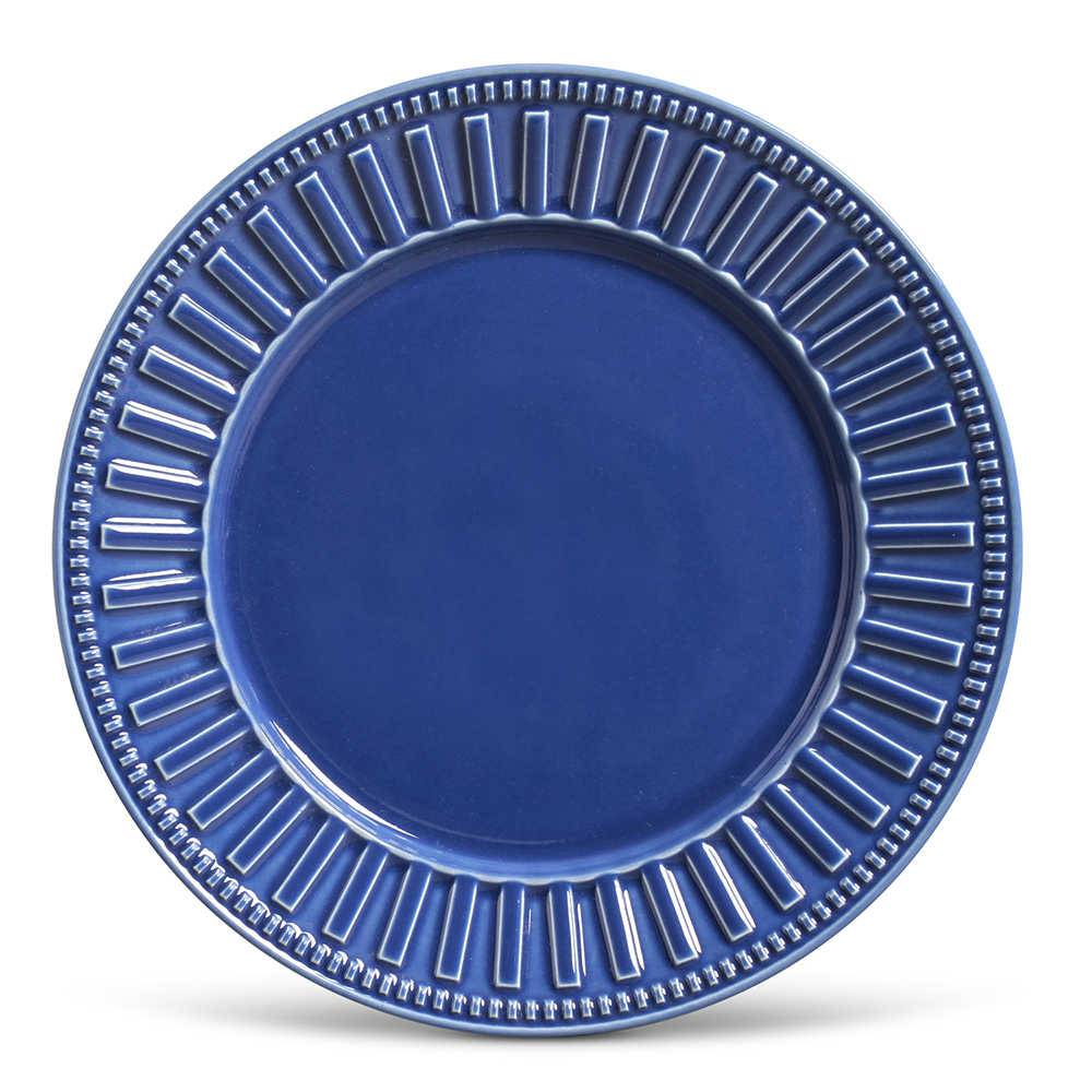 Conjunto de Pratos Rasos Parthenon Azul Navy - 6 Peças - em Cerâmica - La Tavola - Porto Brasil - 26,5x2,8 cm