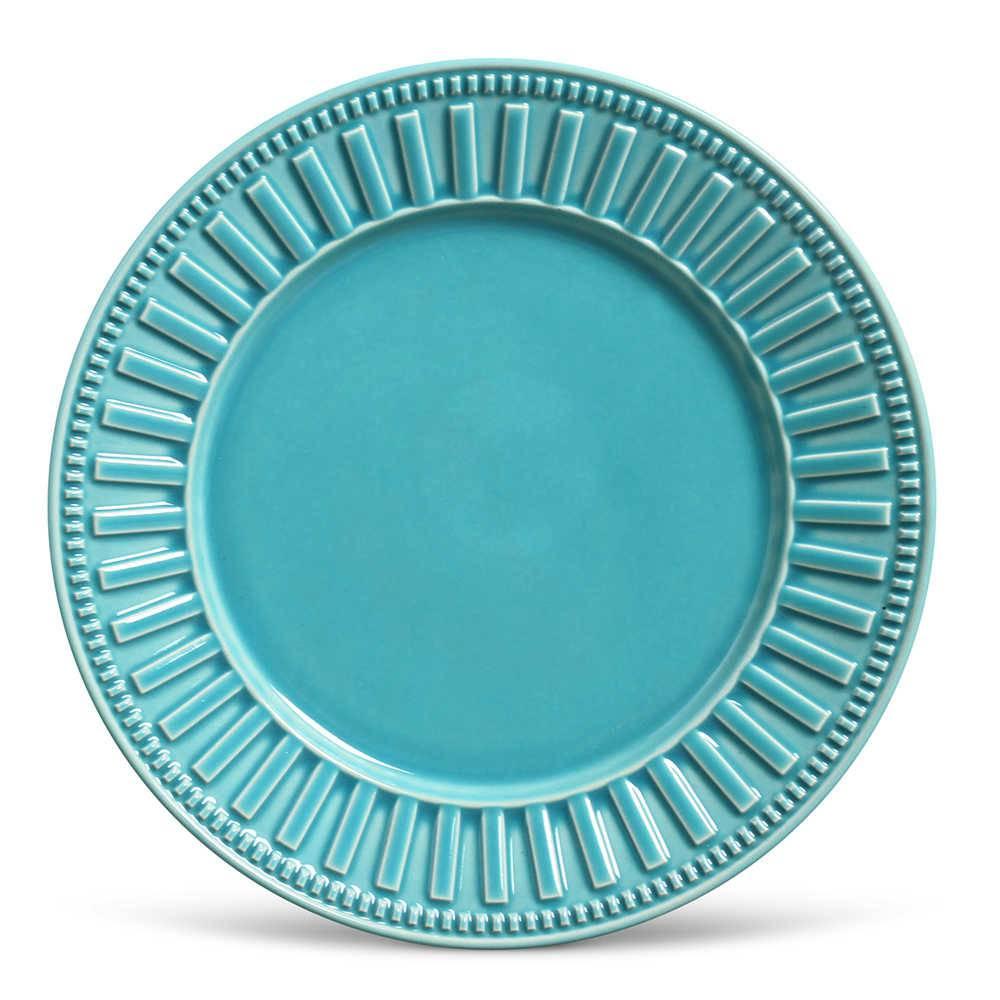 Conjunto de Pratos Rasos Parthenon Azul Poppy - 6 Peças - em Cerâmica - La Tavola - Porto Brasil - 26,5x2,8 cm
