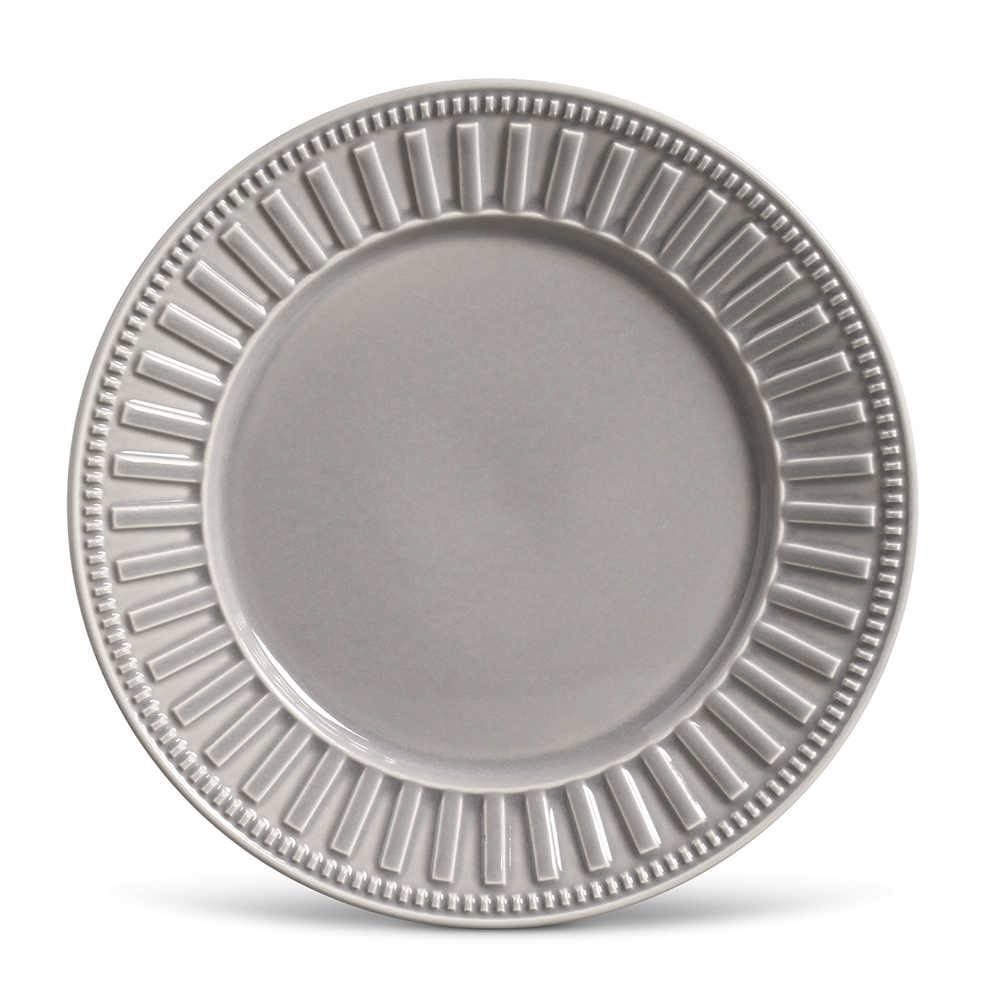 Conjunto de Pratos Rasos Parthenon Cinza Claro - 6 Peças - em Cerâmica - La Tavola - Porto Brasil - 26,5x2,8 cm