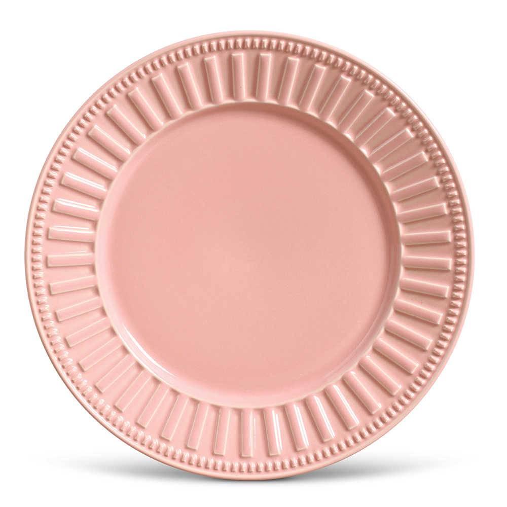 Conjunto de Pratos Rasos Parthenon Rosa - 6 Peças - em Cerâmica - La Tavola - Porto Brasil - 26,5x2,8 cm