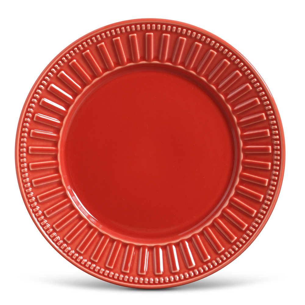 Conjunto de Pratos Rasos Parthenon Vermelho - 6 Peças - em Cerâmica - La Tavola - Porto Brasil - 26,5x2,8 cm