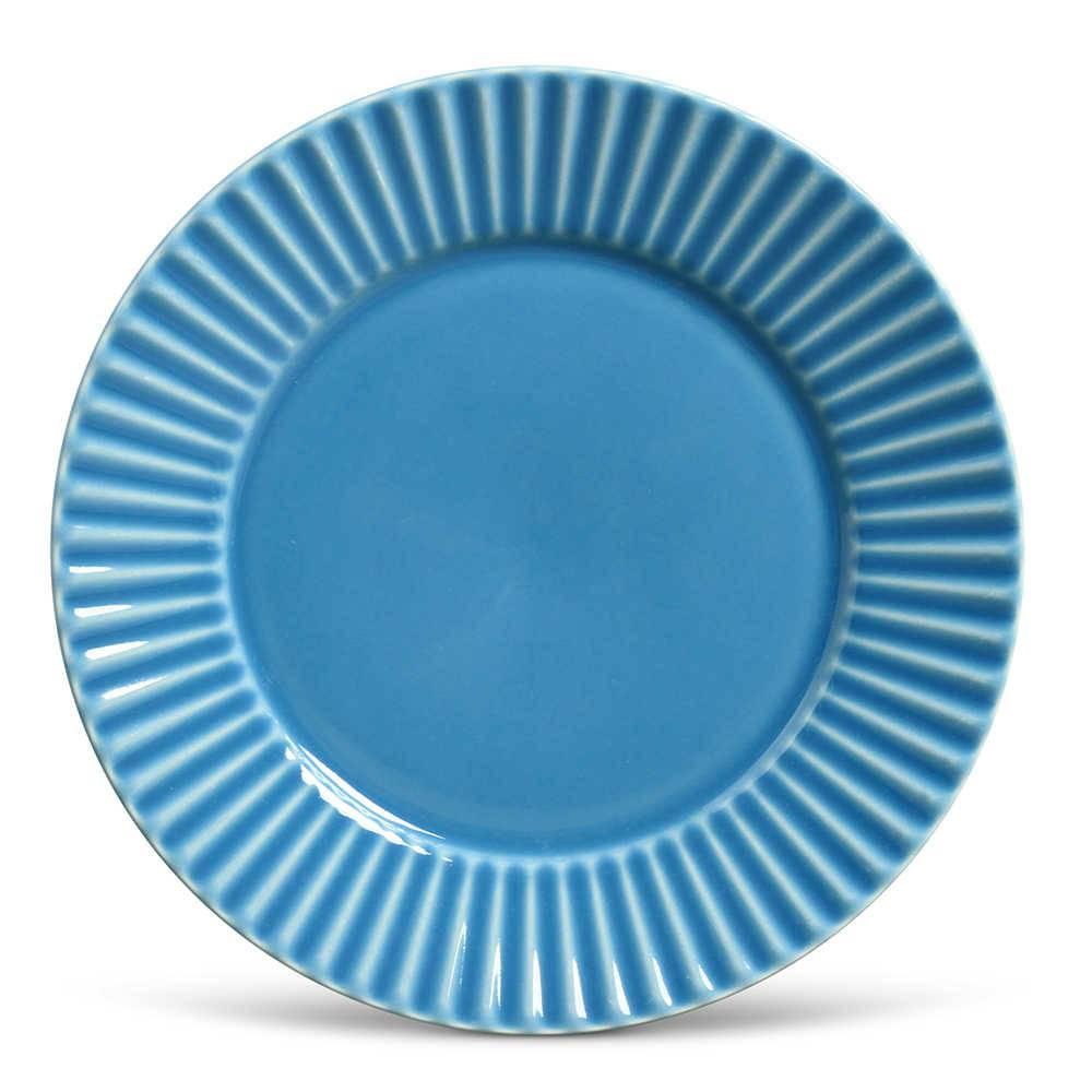 Conjunto de Pratos Rasos Plissé Azul - 6 Peças - em Cerâmica - La Tavola - Porto Brasil - 26,5x2,8 cm