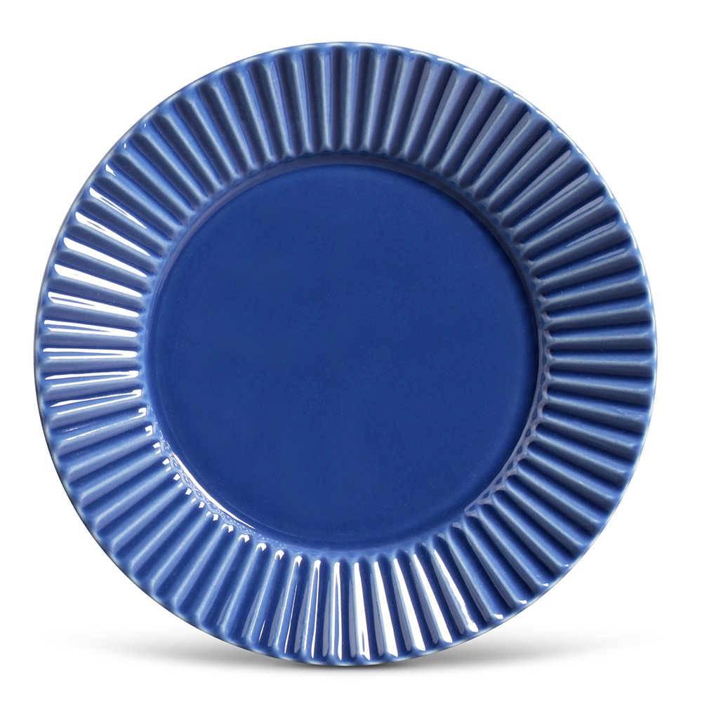 Conjunto de Pratos Rasos Plissé Azul Navy - 6 Peças - em Cerâmica - La Tavola - Porto Brasil - 26,5x2,8 cm