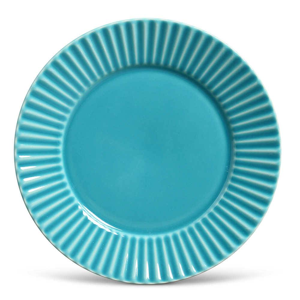 Conjunto de Pratos Rasos Plissé Azul Poppy - 6 Peças - em Cerâmica - La Tavola - Porto Brasil - 26,5x2,8 cm