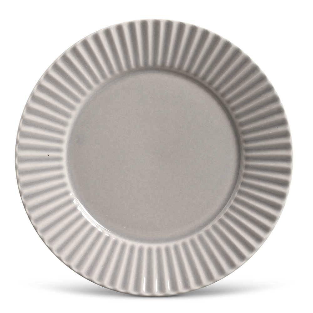 Conjunto de Pratos Rasos Plissé Cinza Claro - 6 Peças - em Cerâmica - La Tavola - Porto Brasil - 26,5x2,8 cm