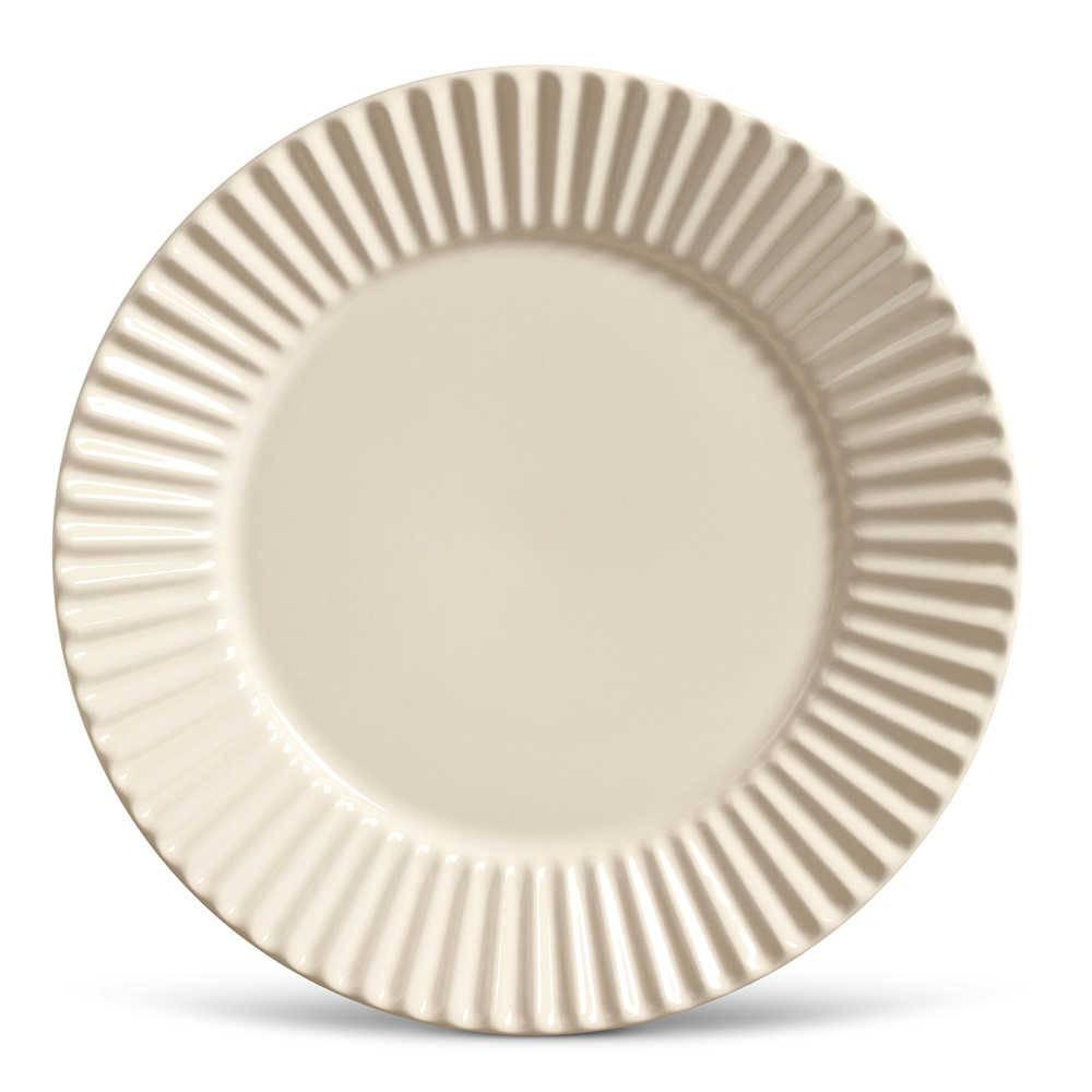 Conjunto de Pratos Rasos Plissé Crú - 6 Peças - em Cerâmica - La Tavola - Porto Brasil - 26,5x2,8 cm