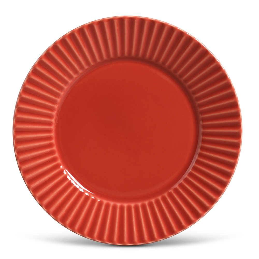 Conjunto de Pratos Rasos Plissé Vermelho - 6 Peças - em Cerâmica - La Tavola - Porto Brasil - 26,5x2,8 cm