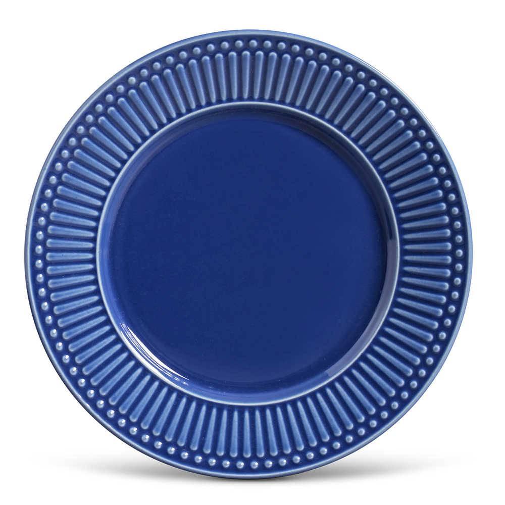 Conjunto de Pratos Rasos Roma Azul Navy - 6 Peças - em Cerâmica - La Tavola - Porto Brasil - 26,5x2,8 cm