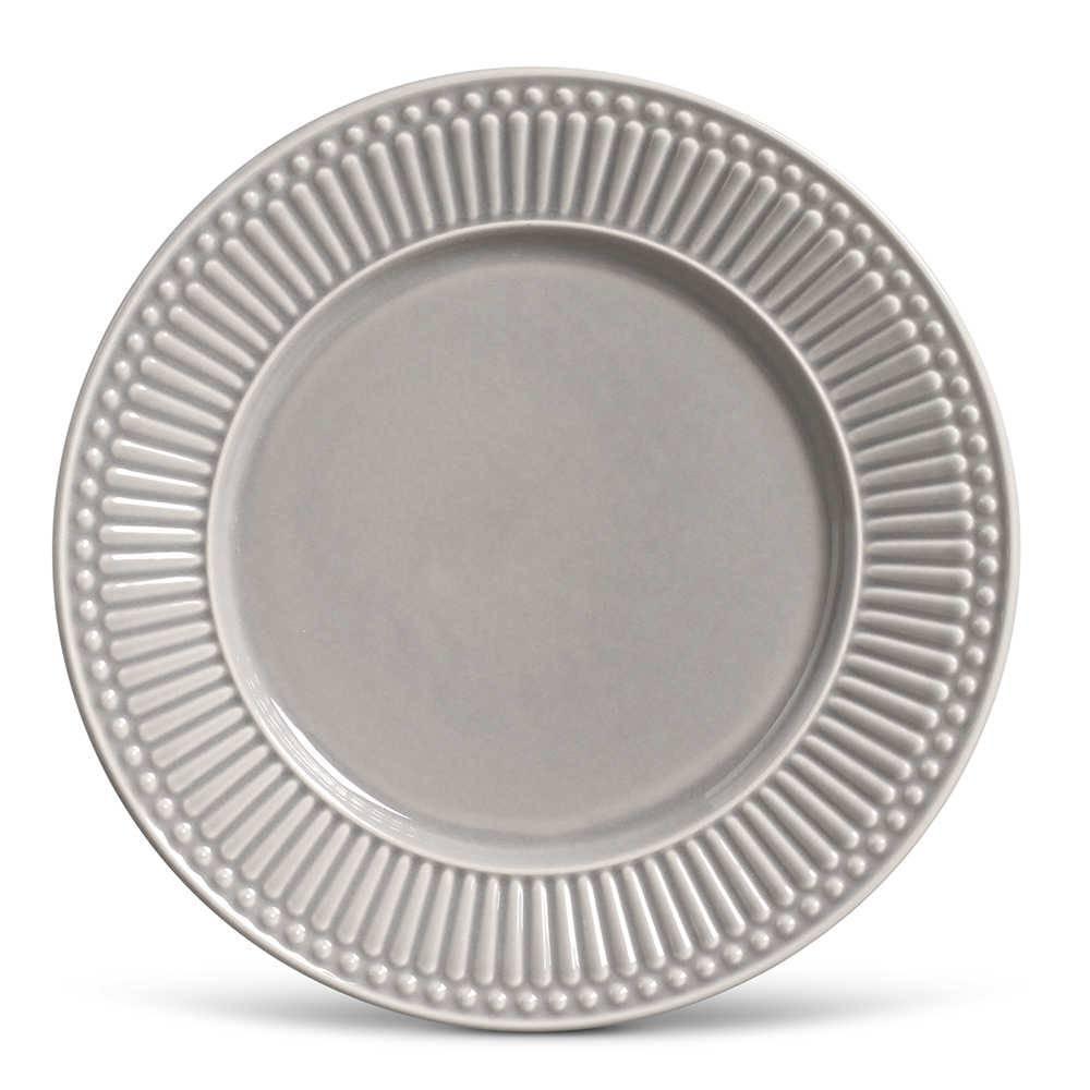 Conjunto de Pratos Rasos Roma Cinza Claro - 6 Peças - em Cerâmica - La Tavola - Porto Brasil - 26,5x2,8 cm