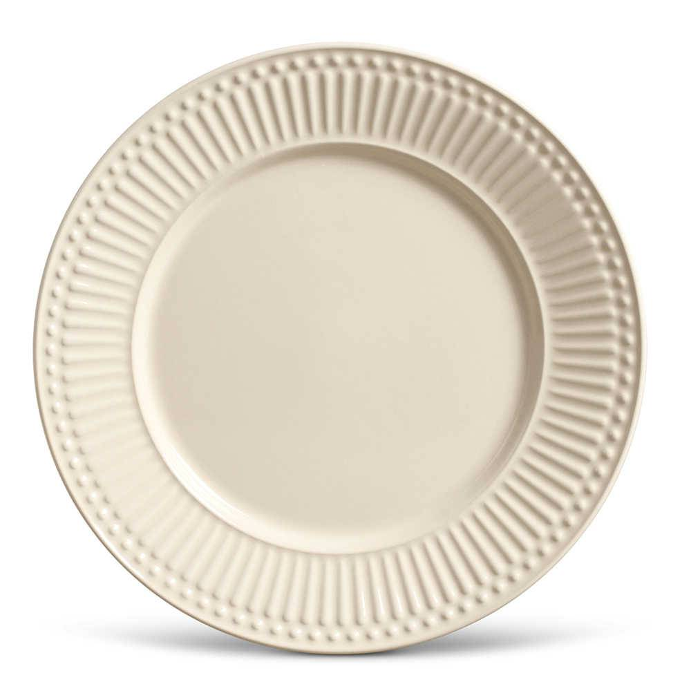 Conjunto de Pratos Rasos Roma Crú - 6 Peças - em Cerâmica - La Tavola - Porto Brasil - 26,5x2,8 cm