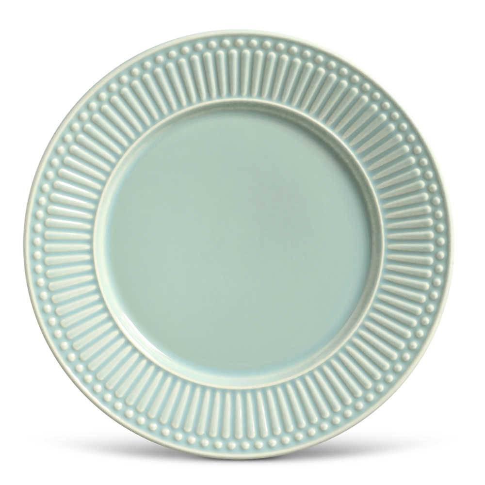 Conjunto de Pratos Rasos Roma Verde - 6 Peças - em Cerâmica - La Tavola - Porto Brasil - 26,5x2,8 cm