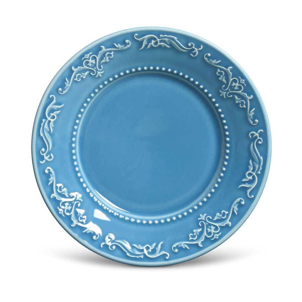Conjunto de Pratos para Sobremesa Acanthus Azul - 6 Peças - em Cerâmica - La Tavola - Porto Brasil - 20,5x2,7 cm
