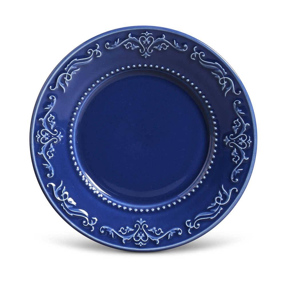 Conjunto de Pratos para Sobremesa Acanthus Azul Navy - 6 Peças - em Cerâmica - La Tavola - Porto Brasil - 20,5x2,7 cm