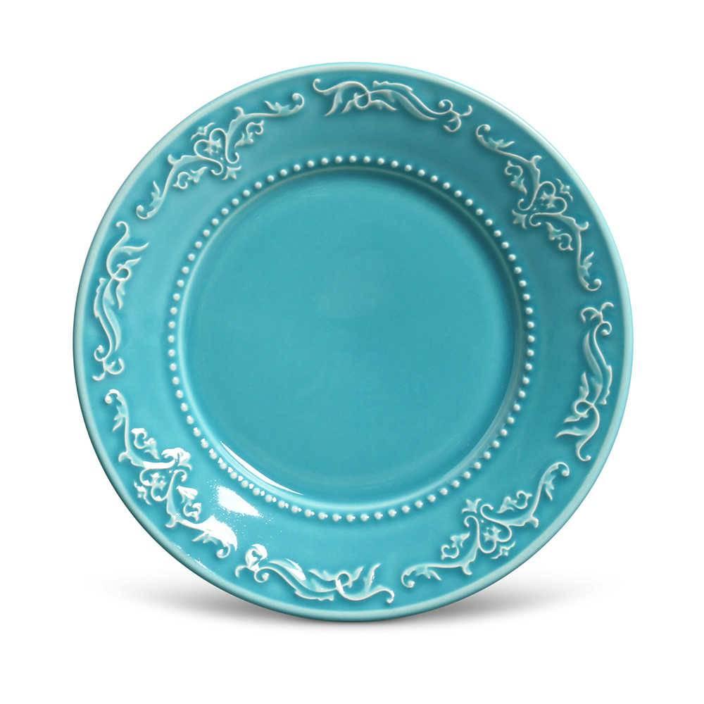 Conjunto de Pratos para Sobremesa Acanthus Azul Poppy - 6 Peças - em Cerâmica - La Tavola - Porto Brasil - 20,5x2,7 cm