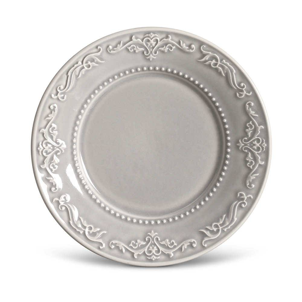 Conjunto de Pratos para Sobremesa Acanthus Cinza Claro - 6 Peças - em Cerâmica - La Tavola - Porto Brasil - 20,5x2,7 cm