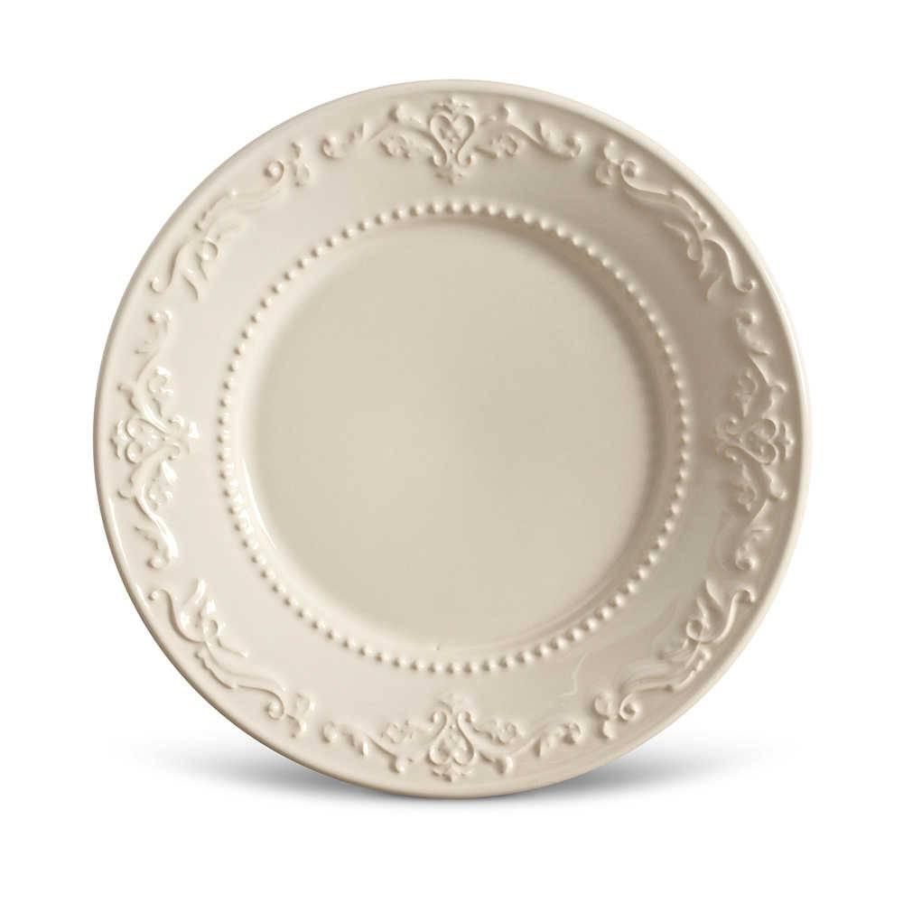 Conjunto de Pratos para Sobremesa Acanthus Crú - 6 Peças - em Cerâmica - La Tavola - Porto Brasil - 20,5x2,7 cm