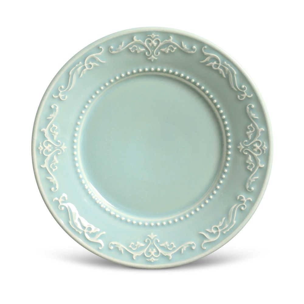 Conjunto de Pratos para Sobremesa Acanthus Verde - 6 Peças - em Cerâmica - La Tavola - Porto Brasil - 20,5 cm