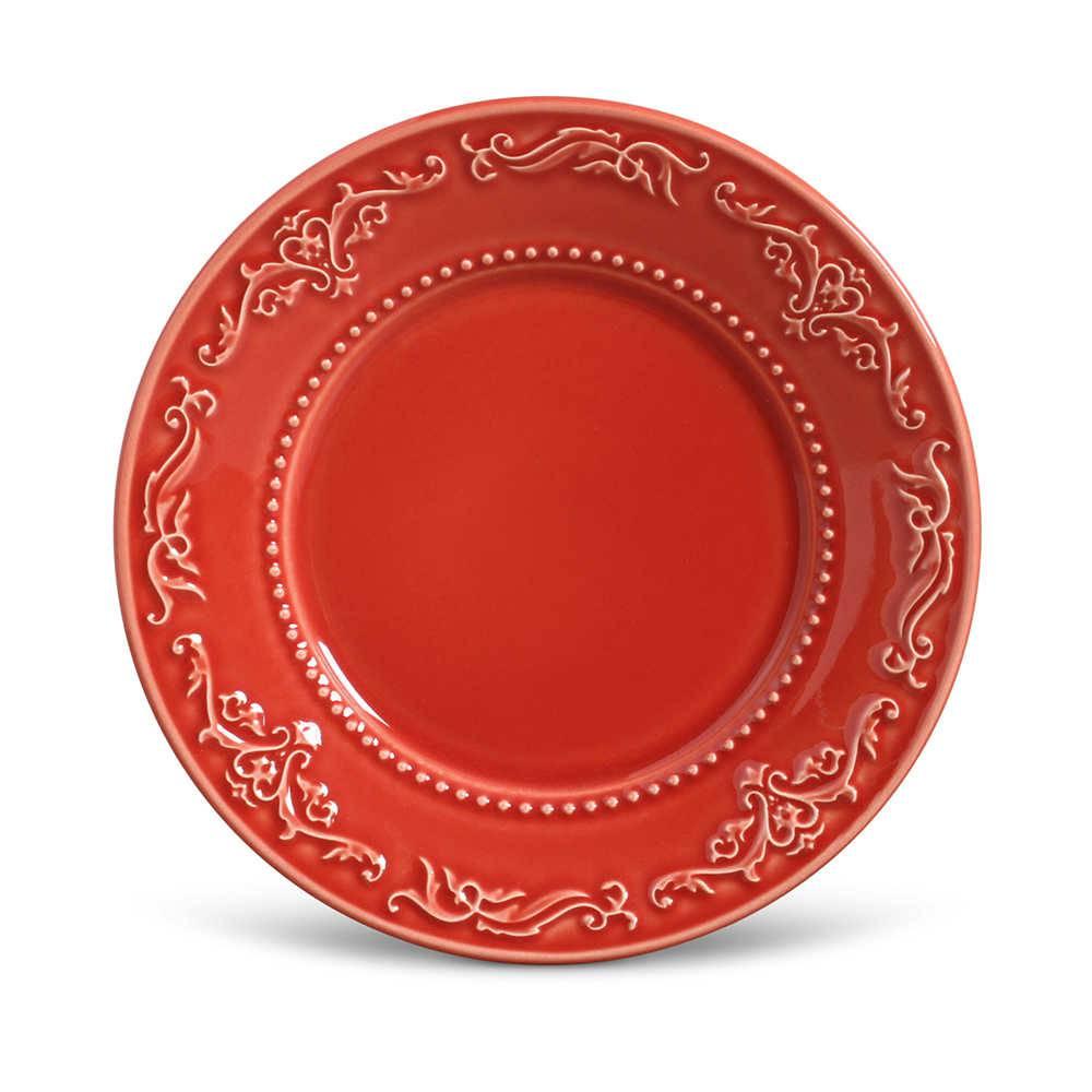 Conjunto de Pratos para Sobremesa Acanthus Vermelho - 6 Peças - em Cerâmica - La Tavola - Porto Brasil - 20,5 cm
