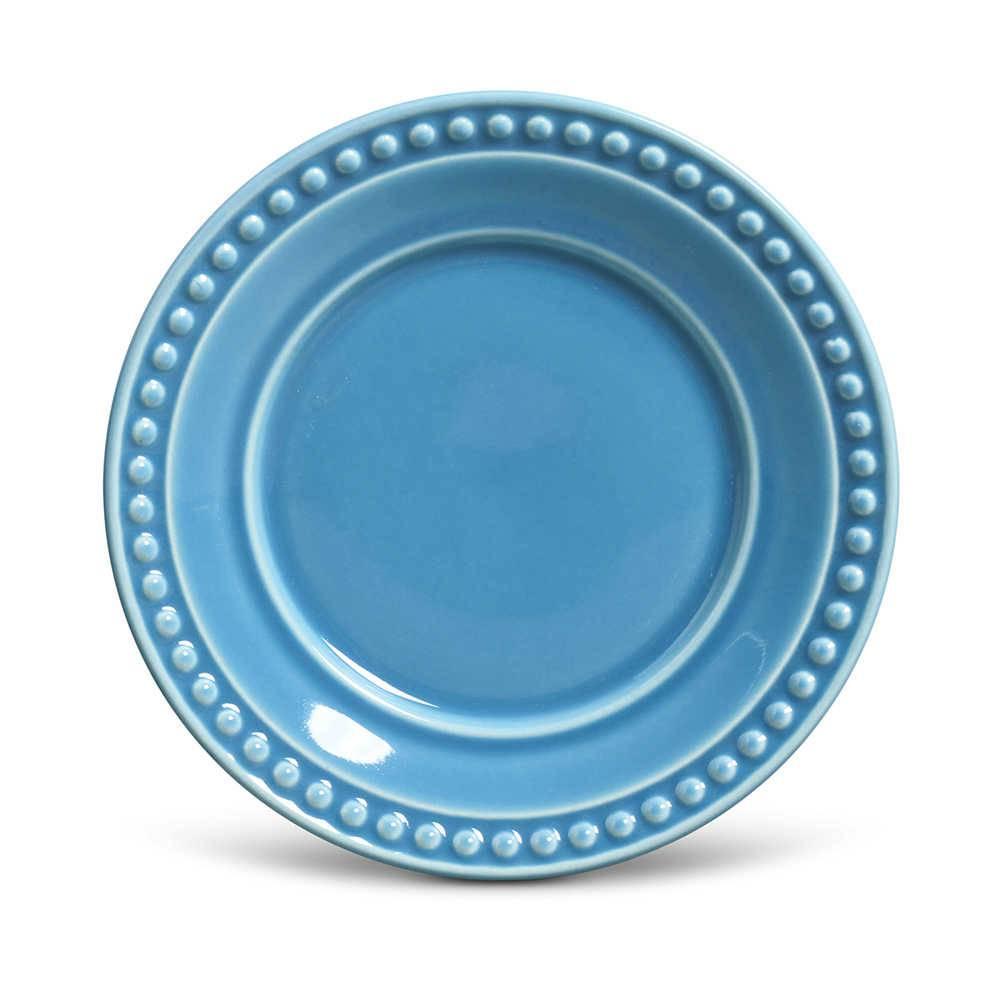 Conjunto de Pratos para Sobremesa Atenas Azul - 6 Peças - em Cerâmica - La Tavola - Porto Brasil - 20,5 cm