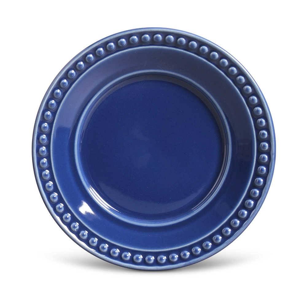 Conjunto de Pratos para Sobremesa Atenas Azul Navy - 6 Peças - em Cerâmica - La Tavola - Porto Brasil - 20,5 cm
