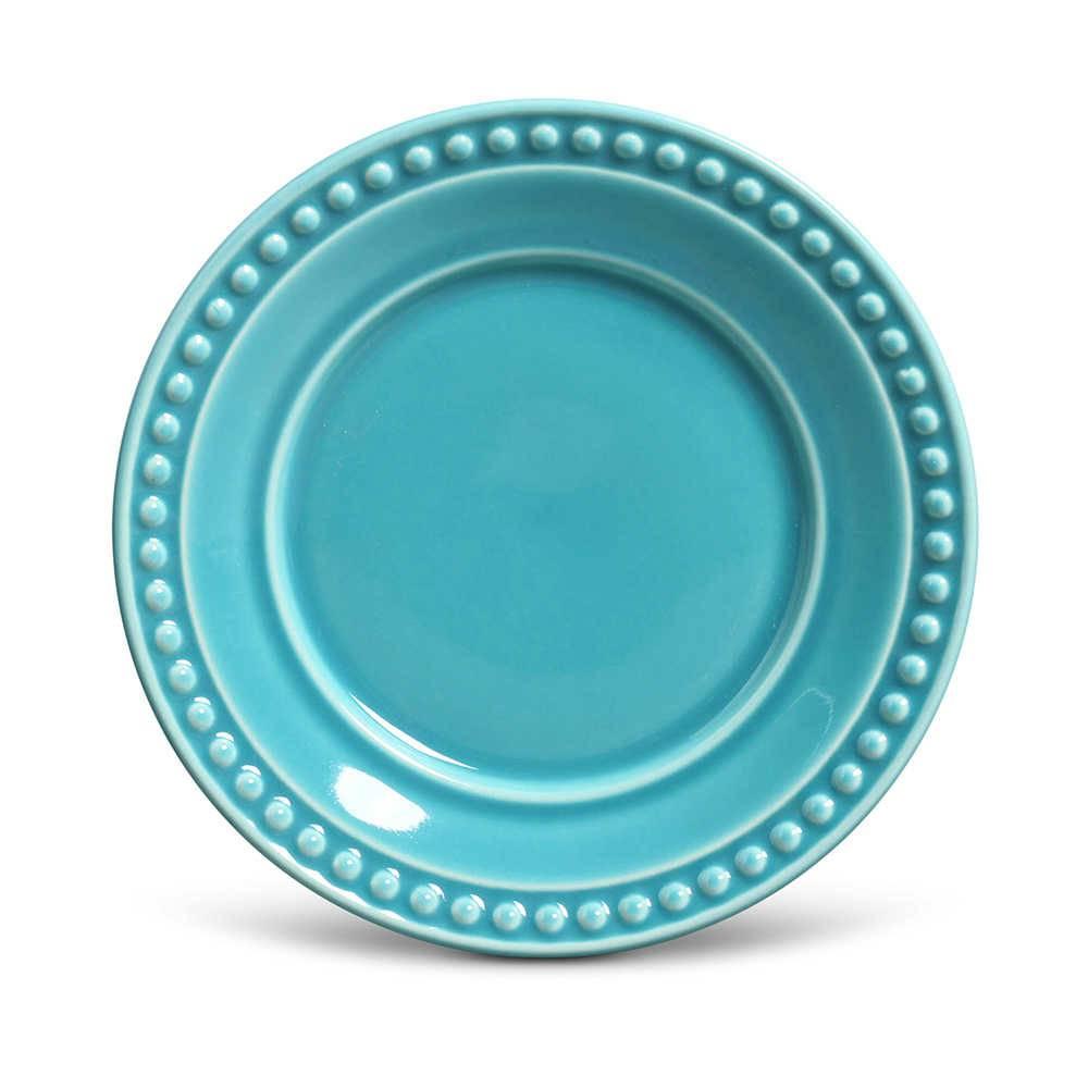 Conjunto de Pratos para Sobremesa Atenas Azul Poppy - 6 Peças - em Cerâmica - La Tavola - Porto Brasil - 20,5 cm