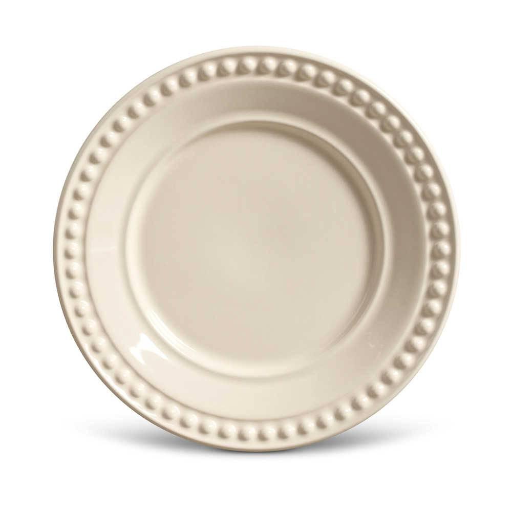 Conjunto de Pratos para Sobremesa Atenas Crú - 6 Peças - em Cerâmica - La Tavola - Porto Brasil - 20,5x2,7 cm