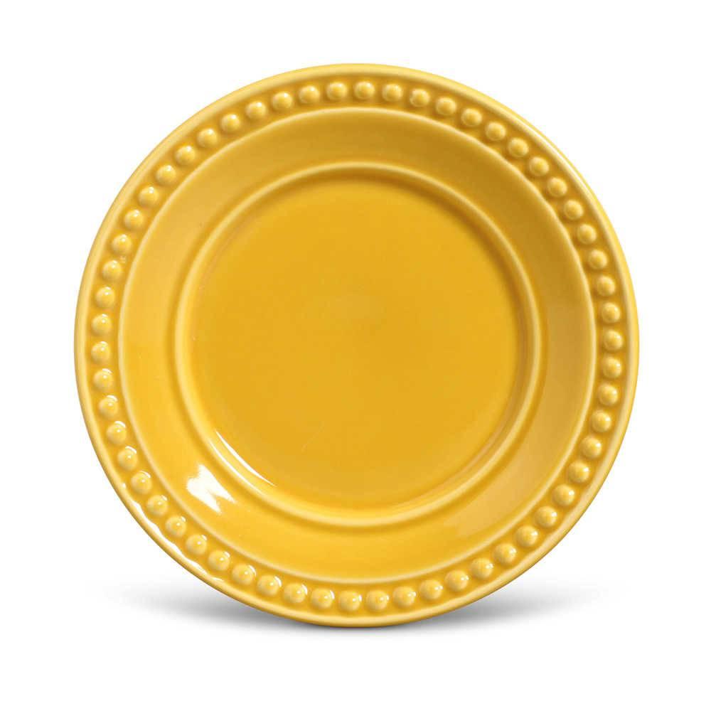 Conjunto de Pratos para Sobremesa Atenas Mostarda - 6 Peças - em Cerâmica - La Tavola - Porto Brasil - 20,5x2,7 cm