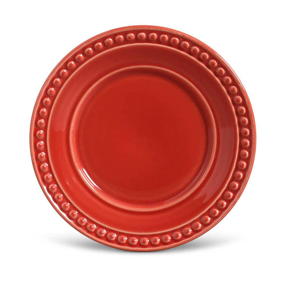 Conjunto de Pratos para Sobremesa Atenas Vermelho - 6 Peças - em Cerâmica - La Tavola - Porto Brasil - 20,5x2,7 cm