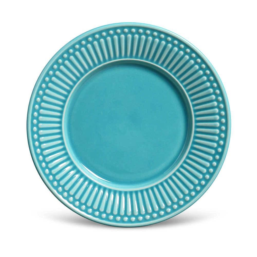 Conjunto de Pratos para Sobremesa Azul Poppy - 6 Peças - em Cerâmica - La Tavola - Porto Brasil - 20,5x2,7 cm