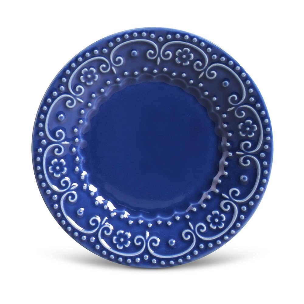 Conjunto de Pratos para Sobremesa Esparta Azul Navy - 6 Peças - em Cerâmica - La Tavola - Porto Brasil - 20,5x2,7 cm