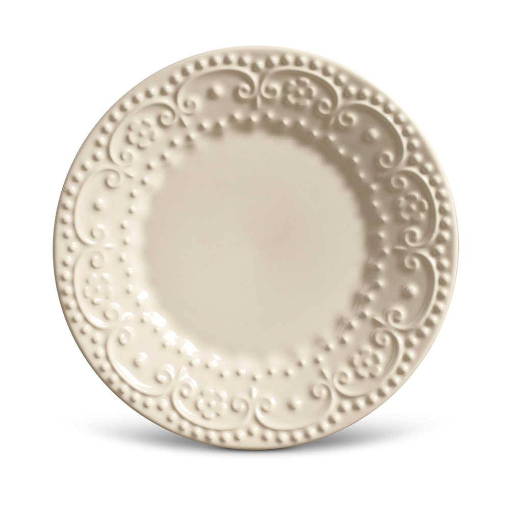 Conjunto de Pratos para Sobremesa Esparta Crú - 6 Peças - em Cerâmica - La Tavola - Porto Brasil - 20,5x2,7 cm