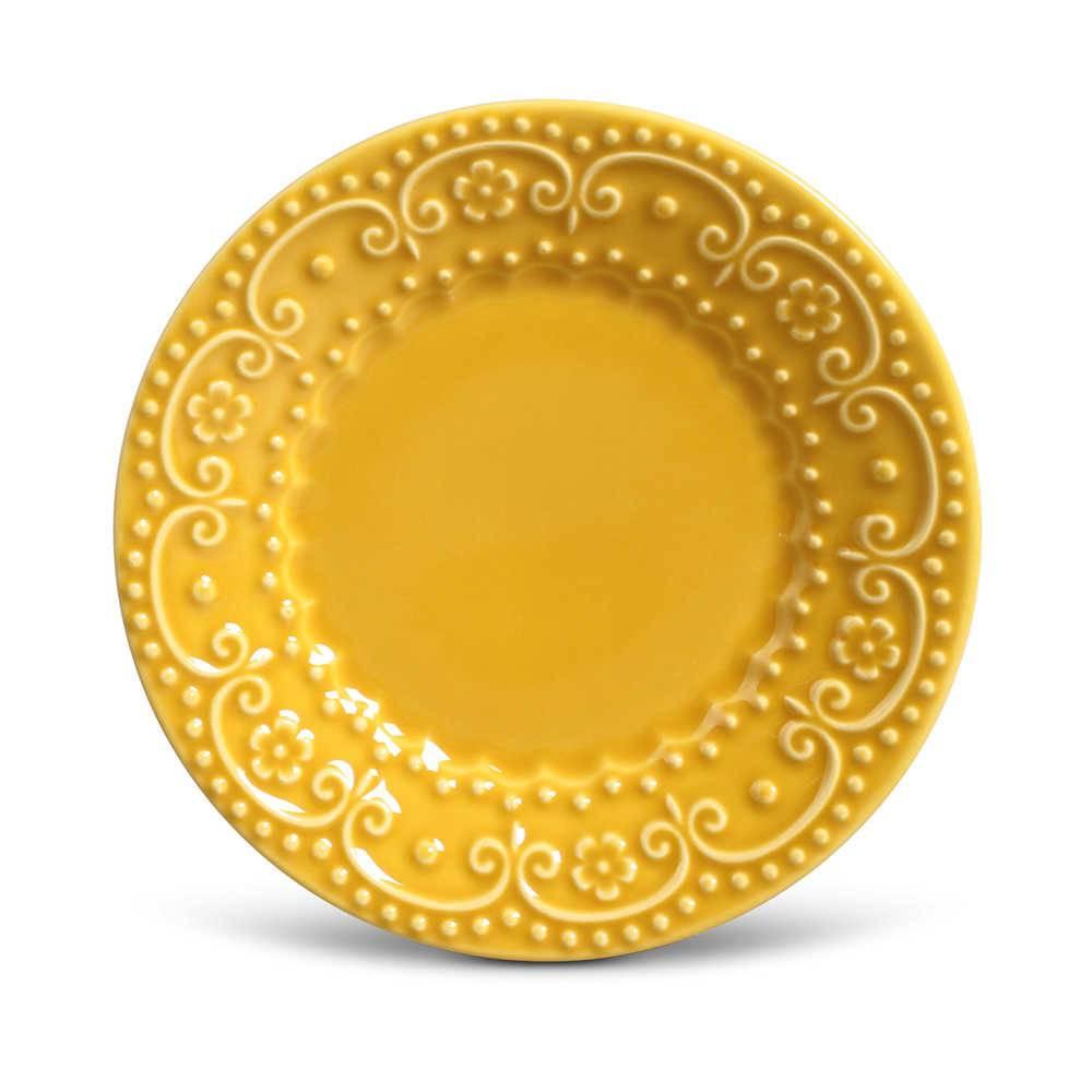 Conjunto de Pratos para Sobremesa Esparta Mostarda - 6 Peças - em Cerâmica - La Tavola - Porto Brasil - 20,5x2,7 cm