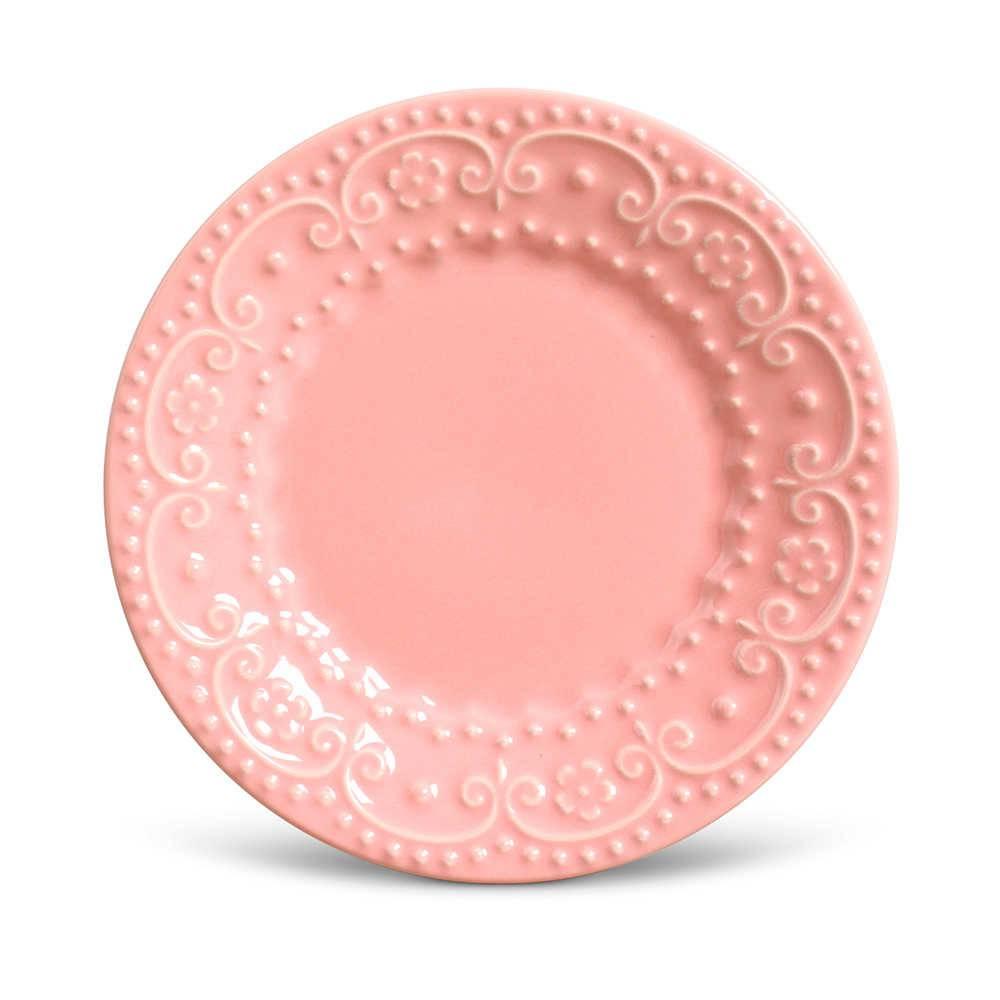 Conjunto de Pratos para Sobremesa Esparta Rosa - 6 Peças - em Cerâmica - La Tavola - Porto Brasil - 20,5x2,7 cm