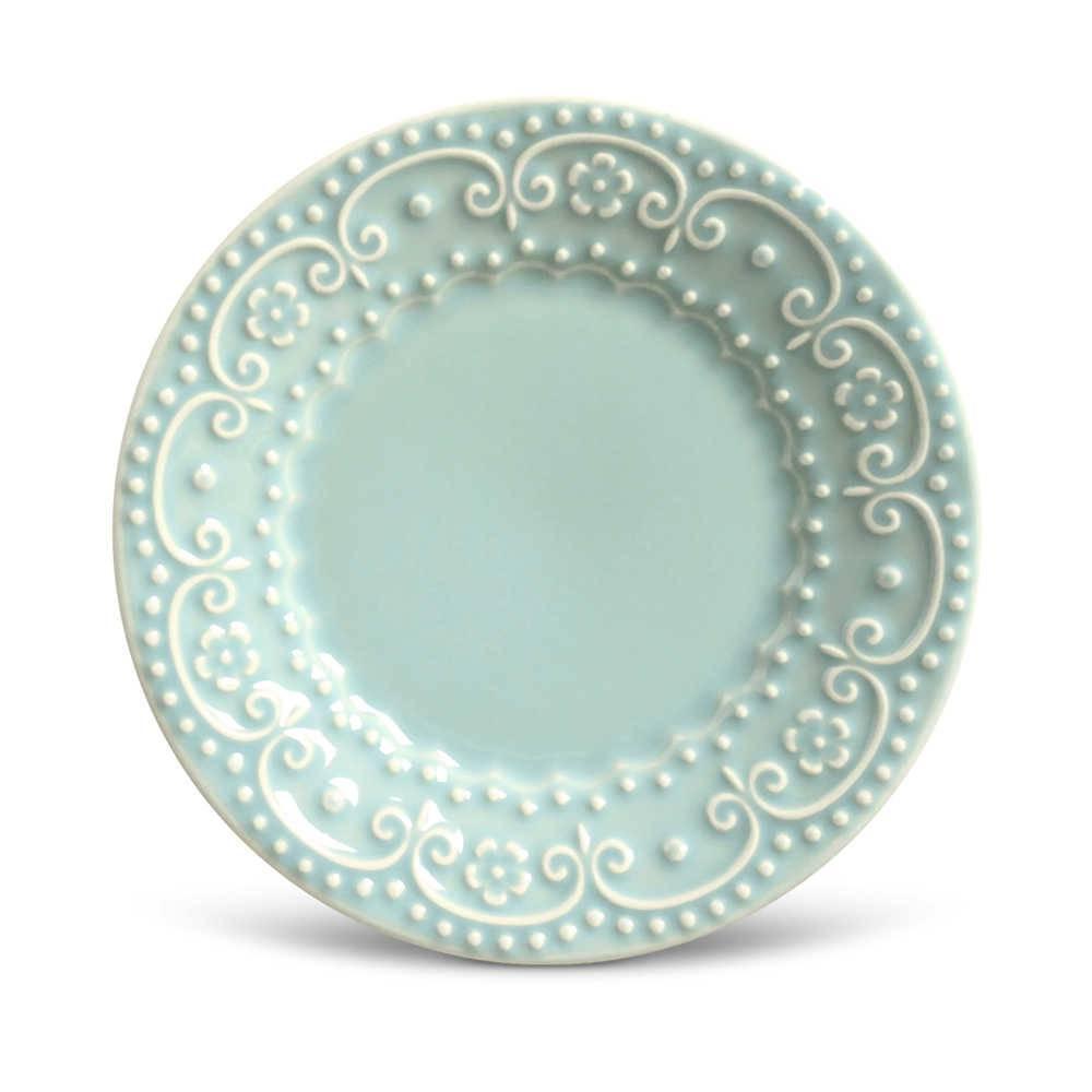 Conjunto de Pratos para Sobremesa Esparta Verde - 6 Peças - em Cerâmica - La Tavola - Porto Brasil - 20,5x2,7 cm
